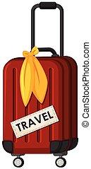 om, bagage, voyage, fond, whte, rouges