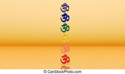 om, coloré, colonne, aum, /, chakra