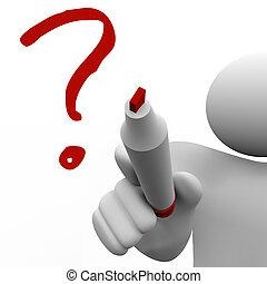 om, drar, ifrågasätta markerar, bord, fråga, problem, man