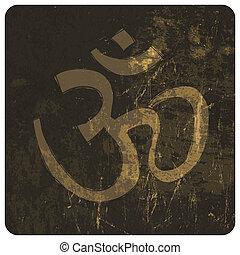 Om grunge symbol. Vector