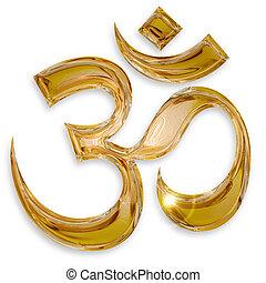 om, hindou, isolé, fond, blanc, icône