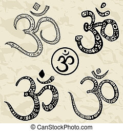 om, illustration., ohm., aum, symbol., hånd, stram