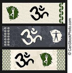 om, joga, illustration., symbol, form, menschliche , workout