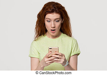 om, kvinna, redhead, sms, chockerat, ringa, oväntad, holdingen, förvåna, förvåna