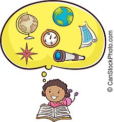 om, litet, bok, unge, flicka läsa, geografi