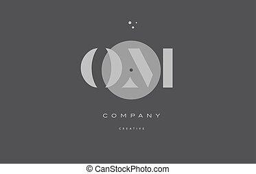 om o m  grey modern alphabet company letter logo icon