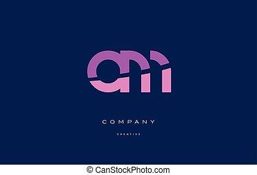 om o m  pink blue alphabet letter logo icon