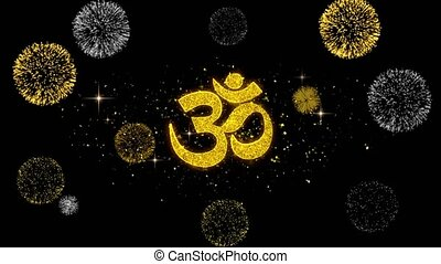 Om or Aum Shiva Golden Text Blinking Particles with Golden...