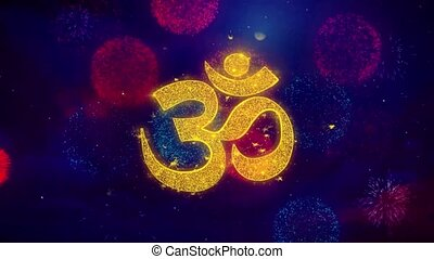 Om or Aum Shiva Greeting Text Sparkle Particles on Colored...