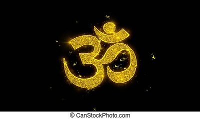 Om or Aum Shiva Typography Written with Golden Particles...