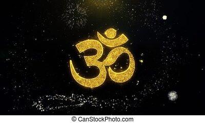 Om or Aum Shiva Written Gold Particles Exploding Fireworks...