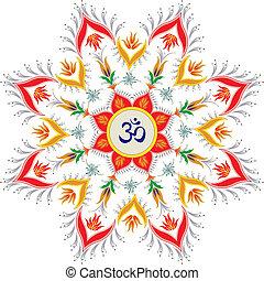 Om - Ornamental round pattern hindu symbol om