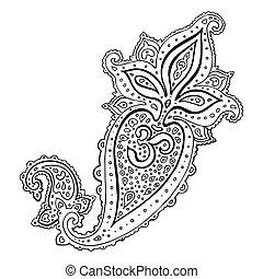 om, paisley., ornament., aum, symbol., etniske