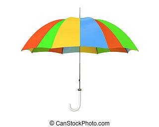 om, paraply, färgrik, isolerat, bakgrund, vit