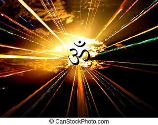 A beautiful background of an OM radiating energies.