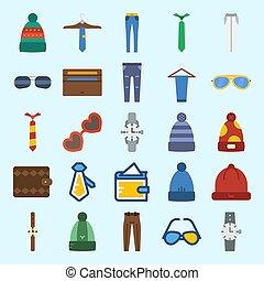 om, sätta, vinter, ikonen, solglasögon, plånbok, accessories., ur, byxor, länk, hatt, man