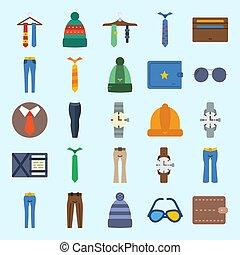 om, sätta, vinter, länk, ikonen, solglasögon, plånbok, accessories., ur, byxor, hatt, man