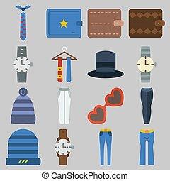 om, sätta, vinter, länk, tillbehör, plånbok, solglasögon, ur, byxor, keywords, man, hatt, ikon