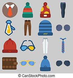 om, sätta, vinter, tillbehör, plånbok, solglasögon, keywords, byxor, länk, man, hatt, ikon