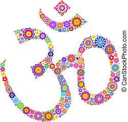 Om sign - Vector illustration of Om symbol made of flowers...