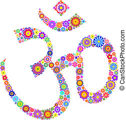 Om sign - Vector illustration of Om symbol made of flowers...