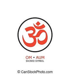 om symbol, aum sign. isolated on white background. vector...