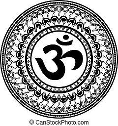 Om symbol inside mandala