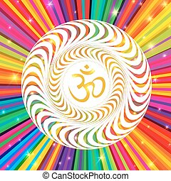 Om symbol on Colorful Rays Psychedelic Background