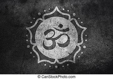 Om symbol on concrete - Om symbol on dark concrete texture...