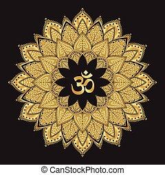 Om symbol with mandala. Round golden Pattern on black...