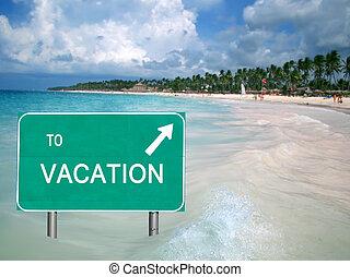 om te, vakantie, meldingsbord, in, tropisch water