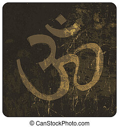 om, vecteur, grunge, symbole.