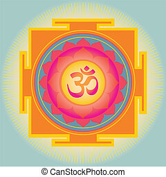 Om Yantra-vector illustration-for meditation, health and...