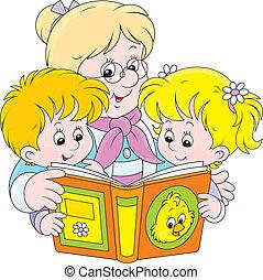 oma, en, kleinkinderen, lezende