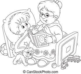oma, en, kleinzoon, lezende , fairyta