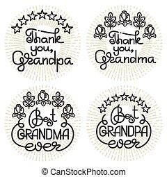oma, en, opa, met de hand geschreven, lettering., grootouders, dag, set.