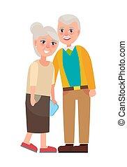 oma, en, opa, vector, illustratie, vrijstaand