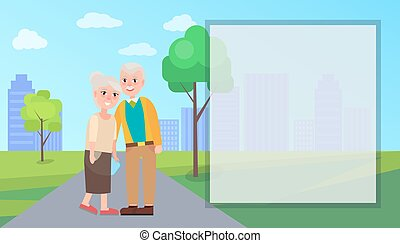 oma, en, opa, vector, in, stad park