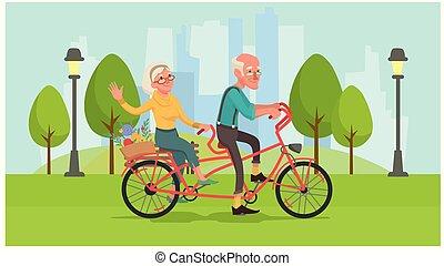 oma, en, opa, zijn, rijden van een bike