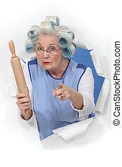 oma, met, de krulspelden van het haar, het dreigen, iemand,...