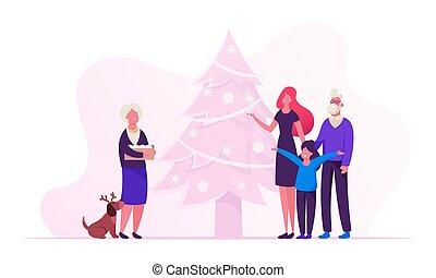 oma, plat, senior, boompje, doosje, spar, spotprent, jonge, speelgoed, jaar, vector, kerstmis, moeder, dochter, verfraaide, dog, gekke , vrolijke , houden, illustratie, grootouders, gezin, preparation., stander, nieuw