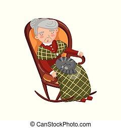 oma, slapende, in, cozy, stoel, met, kat, op, haar, knieën, spotprent, vector, illustratie