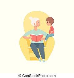 oma, zittende , in, de, leunstoel, en, het boek van de lezing, om te, haar, weinig; niet zo(veel), kleinzoon, grootmoeder, uitgeven, tijd, spelend, met, kleinzoon, vector, illustratie, op, een, witte achtergrond