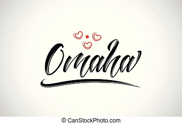 omaha city design typography with red heart icon logo -...