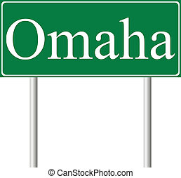 Omaha green road sign isolated on white background