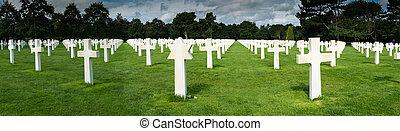 omaha, headstones, パノラマ, 墓地, アメリカ人, ノルマンディー, 浜, 光景