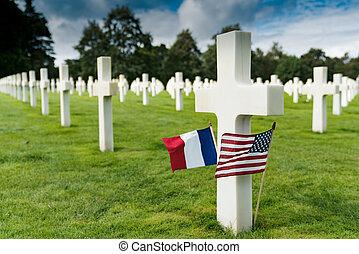 omaha, headstones, 墓地, 交差点, フランス語, アメリカのフラグ, 私達, ノルマンディー, 浜...