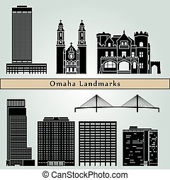 Omaha Landmarks - Omaha landmarks and monuments isolated on...