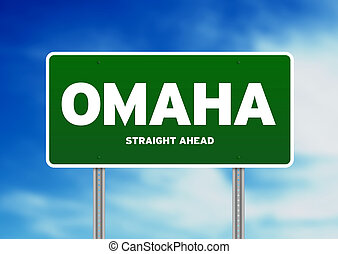 Omaha, Nebraska Highway Sign - Green Omaha, Nebraska, USA...