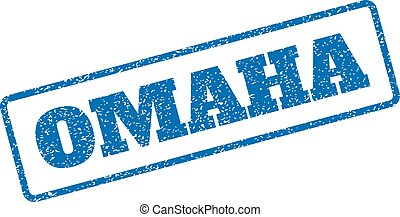 Omaha Rubber Stamp - Blue rubber seal stamp with Omaha text....